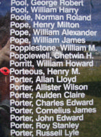 Memorial– Flight Sergeant Henry Mitchell Porteous is commemorated on the Bomber Command Memorial Wall in Nanton, AB … photo courtesy of Marg Liessens