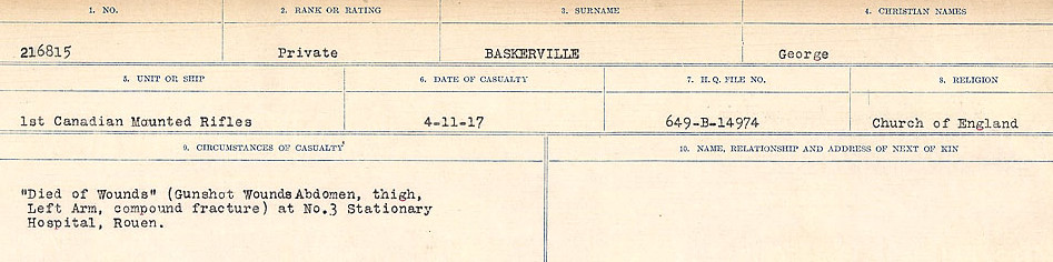 Circumstances of Death– Source: Library and Archives Canada.  CIRCUMSTANCES OF DEATH REGISTERS, FIRST WORLD WAR Surnames:  Bark to Bazinet. Mircoform Sequence 6; Volume Number 31829_B016716. Reference RG150, 1992-93/314, 150.  Page 707 of 1058.