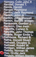 Memorial– Warrant Officer Class II Orville Jack Rau is commemorated on the Bomber Command Memorial Wall in Nanton, AB … photo courtesy of Marg Liessens