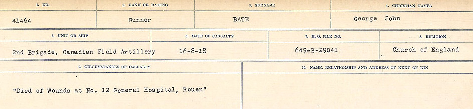 Circumstances of Death– Source: Library and Archives Canada.  CIRCUMSTANCES OF DEATH REGISTERS, FIRST WORLD WAR Surnames:  Bark to Bazinet. Mircoform Sequence 6; Volume Number 31829_B016716. Reference RG150, 1992-93/314, 150.  Page 773 of 1058.