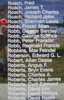 Memorial– Pilot Officer Sherman Lewis Roach is commemorated on the Bomber Command Memorial Wall in Nanton, AB … photo courtesy of Marg Liessens