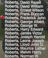 Memorial– Pilot Officer Frederick John Roberts is also commemorated on the Bomber Command Memorial Wall in Nanton, AB … photo courtesy of Marg Liessens