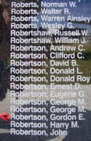 Memorial– Pilot Officer Gordon Edwin Robertson is also commemorated on the Bomber Command Memorial Wall in Nanton, AB … photo courtesy of Marg Liessens