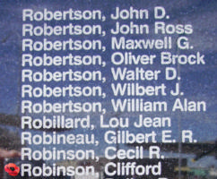 Memorial– Pilot Officer Clifford Robinson is also commemorated on the Bomber Command Memorial Wall in Nanton, AB … photo courtesy of Marg Liessens