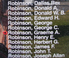 Memorial– Flying Officer Graeme Alastair Robinson is also commemorated on the Bomber Command Memorial Wall in Nanton, AB … photo courtesy of Marg Liessens
