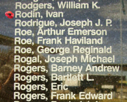 Memorial– Warrant Officer Class II Ian Rodin is also commemorated on the Bomber Command Memorial Wall in Nanton, AB … photo courtesy of Marg Liessens