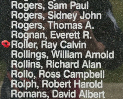 Memorial– Flight Sergeant Ray Calvin Roller is also commemorated on the Bomber Command Memorial Wall in Nanton, AB … photo courtesy of Marg Liessens
