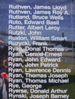 Memorial– Flight Sergeant Thomas Joseph Ryan is also commemorated on the Bomber Command Memorial Wall in Nanton, AB … photo courtesy of Marg Liessens