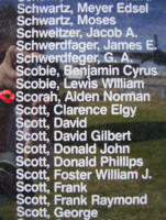 Memorial– Flight Sergeant Alden Norman Scorah is commemorated on the Bomber Command Memorial Wall in Nanton, AB … photo courtesy of Marg Liessens