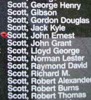 Memorial– Warrant Officer Class II John Ernest Scott is commemorated on the Bomber Command Memorial Wall in Nanton, AB … photo courtesy of Marg Liessens