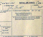 Document– This is Scott's RAF Form 373 (obv) which gives his personal information.  It is written in his own hand.  He was married 20 Jul 1942 at age 22.   (Note that he received his Flying Badge the same day.)  Source: Library & Archives Canada via R. Whitehouse