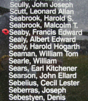 Memorial– Flying Officer Francis Edward Seaby is commemorated on the Bomber Command Memorial Wall in Nanton, AB … photo courtesy of Marg Liessens