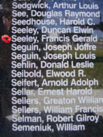 Memorial– Pilot Officer Francis Gerald Seeley is commemorated on the Bomber Command Memorial Wall in Nanton, AB … photo courtesy of Marg Liessens