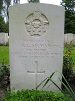 Grave Marker– Gravemarker of R G Selman's grave at the Berlin War Cemetery