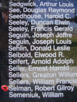 Memorial– Flying Officer Robert Gilroy Selman is commemorated on the Bomber Command Memorial Wall in Nanton, AB … photo courtesy of Marg Liessens