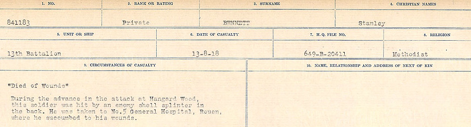 Circumstances of Death– Source: Library and Archives Canada.  CIRCUMSTANCES OF DEATH REGISTERS FIRST WORLD WAR Surnames:  Bell to Bernaquez.  Mircoform Sequence 8; Volume Number 31829_B016718; Reference RG150, 1992-93/314, 152 Page 493 of 670