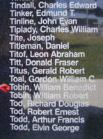 Memorial– Warrant Officer William Benedict Tobin is commemorated on the Bomber Command Memorial Wall in Nanton, AB … photo courtesy of Marg Liessens
