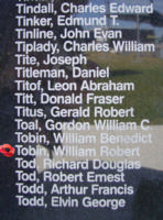 Memorial– Warrant Officer Class II William Robert Tobin is commemorated on the Bomber Command Memorial Wall in Nanton, AB … photo courtesy of Marg Liessens