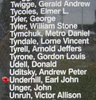 Memorial– Flying Officer Earl John Underhill is also commemorated on the Bomber Command Memorial Wall in Nanton, AB … photo courtesy of Marg Liessens
