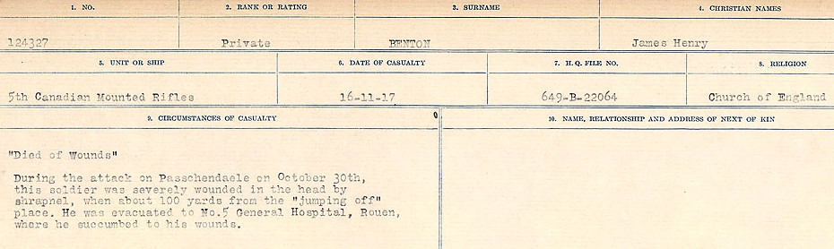Circumstances of Death– Source: Library and Archives Canada.  CIRCUMSTANCES OF DEATH REGISTERS FIRST WORLD WAR Surnames:  Bell to Bernaquez.  Mircoform Sequence 8; Volume Number 31829_B016718; Reference RG150, 1992-93/314, 152 Page 611 of 670