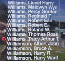 Memorial– Pilot Officer Tracy Arthur Thomas Williams is also commemorated on the Bomber Command Memorial Wall in Nanton, AB … photo courtesy of Marg Liessens