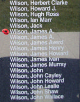 Memorial– Sergeant James Archibald Wilson is also commemorated on the Bomber Command Memorial Wall in Nanton, AB … photo courtesy of Marg Liessens