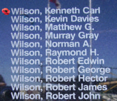 Memorial– Pilot Officer Kenneth Carl Wilson is also commemorated on the Bomber Command Memorial Wall in Nanton, AB … photo courtesy of Marg Liessens