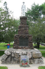 War Memorial– Cenotaph at Richards Landing, Ontario on St. Joseph Island. Photo provided by Padre Phil Miller, RCL, Branch 25, Sault Ste. Marie, Ontario. We Will Remember Them.
