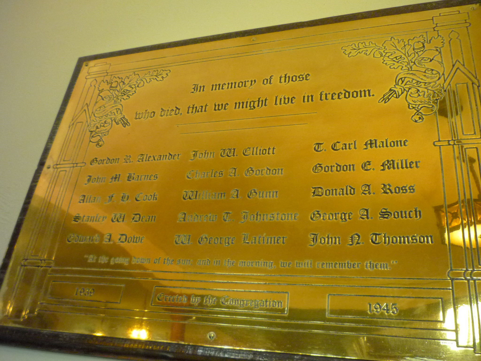 """Memorial Plaque– Plaque erected in the sanctuary of St. John's Presbyterian Church, Broadview Avenue, Toronto, Ontario, Canada.  Memorial Chimes were also dedicated """"In memory of those of our number who gave their lives in the cause of freedom in World War II, 1939-1945."""""""