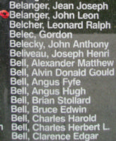 Memorial– Sergeant Joseph Leonin Lionel Belanger is also commemorated on the Bomber Command Memorial Wall in Nanton, AB … photo courtesy of Marg Liessens