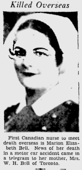 Photo of MARION ELIZABETH BELL– In memory of the students from the Vaughan Road Collegiate Institute  (Toronto) who went away to war and did not come home. Submitted for the project, Operation Picture Me