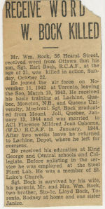 Newspaper Clipping– Newspaper clipping of death notification. Submitted by Phil Miller.