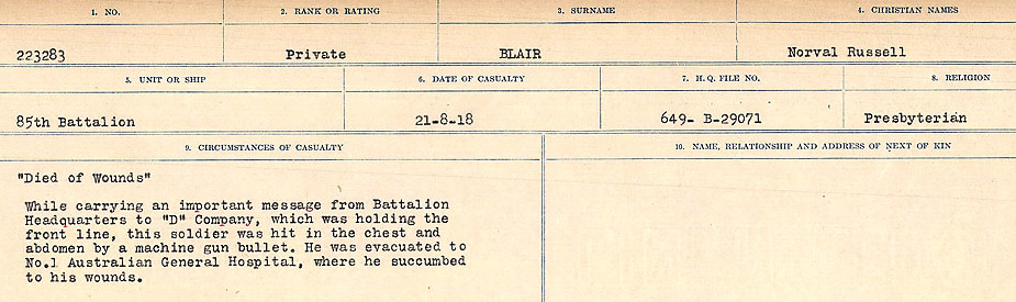 Circumstances of Death Registers– Source: Library and Archives Canada.  CIRCUMSTANCES OF DEATH REGISTERS FIRST WORLD WAR Surnames: Birch to Blakstad. Mircoform Sequence 10; Volume Number 31829_B034746; Reference RG150, 1992-93/314, 154 Page 619 of 734