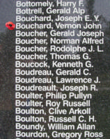 Memorial– Flying Officer Vernon John Bouchard is also commemorated on the Bomber Command Memorial Wall in Nanton, AB … photo courtesy of Marg Liessens