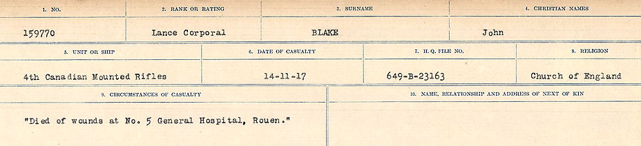 Circumstances of Death Registers– Source: Library and Archives Canada.  CIRCUMSTANCES OF DEATH REGISTERS FIRST WORLD WAR Surnames: Birch to Blakstad. Mircoform Sequence 10; Volume Number 31829_B034746; Reference RG150, 1992-93/314, 154 Page 689 of 734
