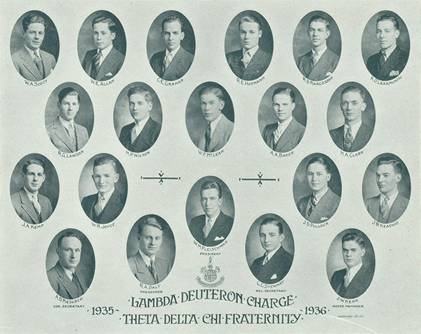 Photo– Composite photo of Clark and fellow fraternity members. Clark is shown second row from top, last image from photo left. From Torontonensis yearbook, 1936.
