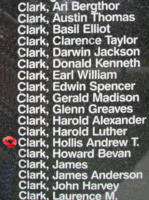 Memorial– Flying Officer Hollis Andrew Taylor Clark is also commemorated on the Bomber Command Memorial Wall in Nanton, AB … photo courtesy of Marg Liessens