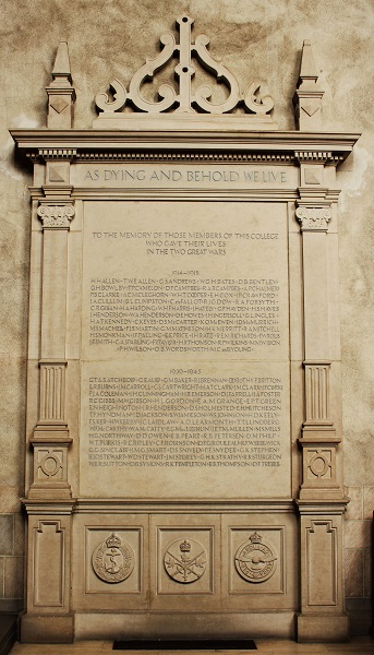 """Memorial Stele– This stone stele is located in the chapel at Trinity College in the University of Toronto. """"AS DYING AND BEHOLD WE LIVE. TO THE MEMORY OF THOSE MEMBERS OF THIS COLLEGE WHO GAVE THEIR LIVES IN THE TWO GREAT WARS."""" The name of """"H.A.T. CLARK"""" is among those inscribed."""