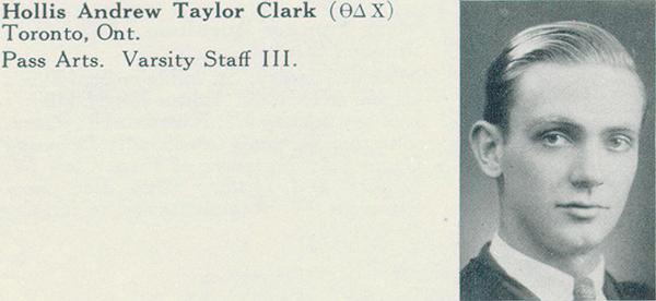 Photo– Photograph of Clark from Torontonensis, University of Toronto yearbook, 1936.