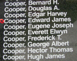 Memorial– Sergeant Edward James Cooper is also commemorated on the Bomber Command Memorial Wall in Nanton, AB … photo courtesy of Marg Liessens