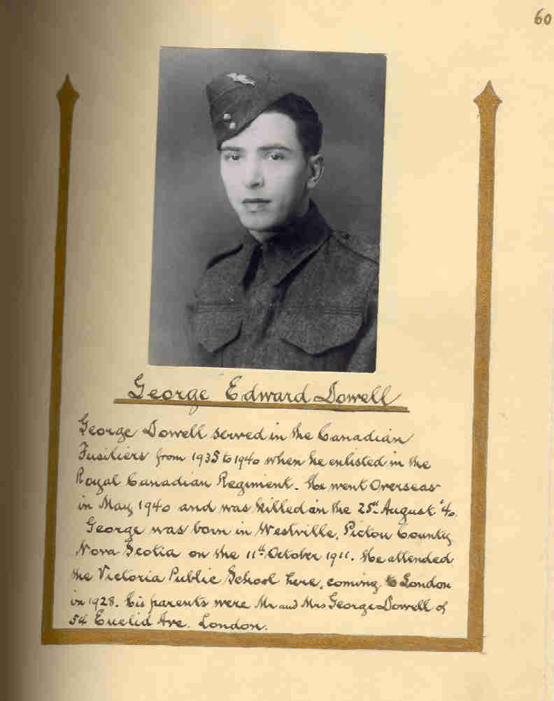 Photo of George Dowell– In memory of the people of London, Ontario who served during World War II and did not return. Submitted for the project, Operation: Picture Me