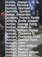 Memorial– Warrant Officer Class II Alexander Dunae is also commemorated on the Bomber Command Memorial Wall in Nanton, AB … photo courtesy of Marg Liessens