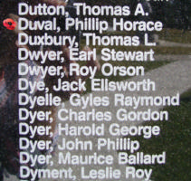 Memorial– Flying Officer Philip Horace Duval is also commemorated on the Bomber Command Memorial Wall in Nanton, AB … photo courtesy of Marg Liessens