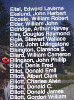 Memorial– Pilot Officer John Phillip Ellingson is also commemorated on the Bomber Command Memorial Wall in Nanton, AB … photo courtesy of Marg Liessens