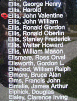 Memorial– Sergeant John Valentine Ellis is also commemorated on the Bomber Command Memorial Wall in Nanton, AB … photo courtesy of Marg Liessens