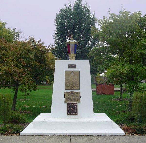 War Memorial– The War Monument in Hagersville, Ontario, Canada.