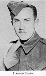 Photo of Harold Evans– Picture from West Hill High School Annual 1944 (Montreal). Photo supplied by McGill University.