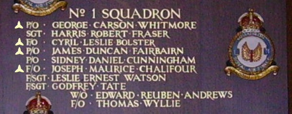 Inscription– Pilot Officer James Duncan Fairbairn is also commemorated at St George's Royal Air Force Chapel of Remembrance - Biggin Hill … name on the panels that surround the Altar … Photo courtesy of Marg Liessens