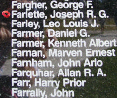 Memorial– Flying Officer Joseph Rodolphe Gaston Farlette is also commemorated on the Bomber Command Memorial Wall in Nanton, AB … photo courtesy of Marg Liessens