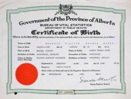 Birth Certificate– Submitted for the project, Operation Picture Me